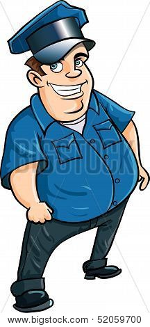 Fat jolly cartoon policeman