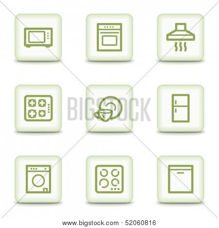 Home appliances web icons, white glossy buttons