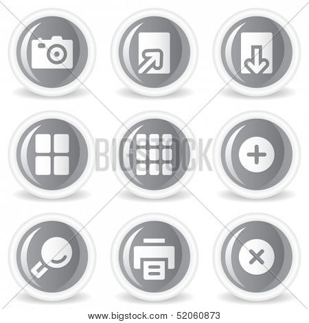 Image viewer web icons, grey glossy circle  buttons