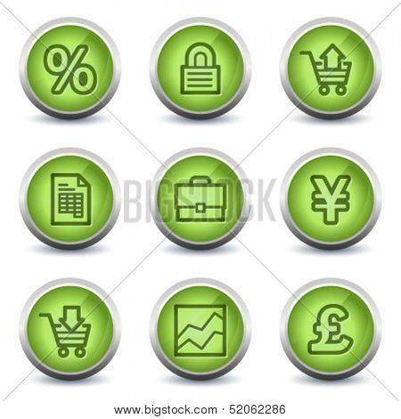 E-business web icons, green glossy set