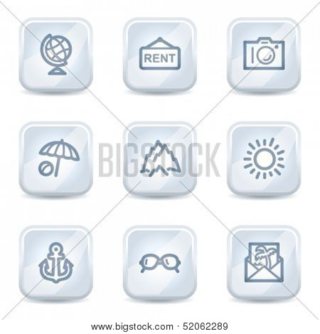 Travel web icons set 5, white glossy buttons