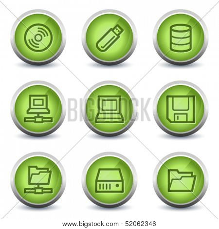 Drives and storage web icons, green glossy set