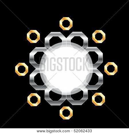 Background with metallic hexagon