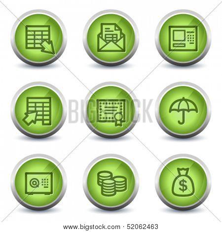 Banking  web icons, green glossy set