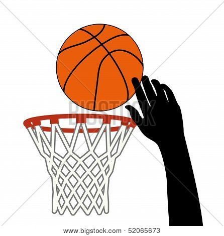 Vector Symbol Of Shot Of Basketball Ball Through A Hoop