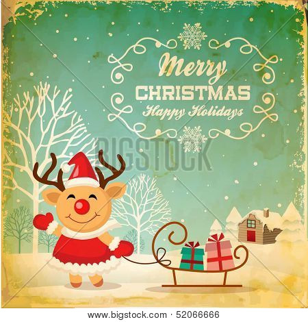 Illustration of cute Christmas reindeer in Christmas background