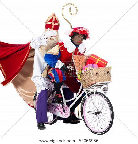 Zwarte Piet And Sinterklaas On A Bike