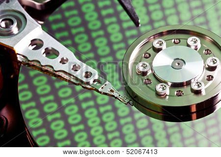 hard disk with binary code