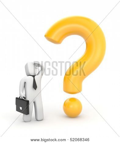 Businessman and question