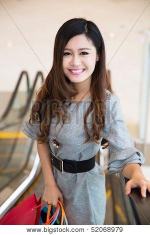 Beautiful Young Woman Shopping In Mall