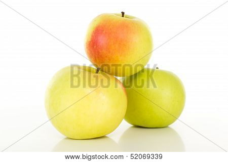 Fresh Apples Coloured Red Yellow Green