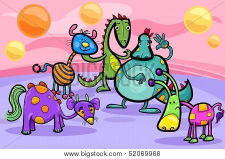 Fantasy Creatures Group Cartoon Illustration