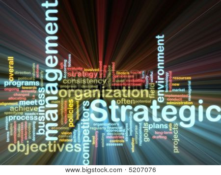 Strategic Management Wordcloud Glowing