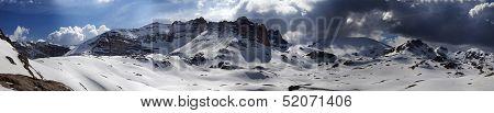 Panorama Of Snowy Winter Mountains