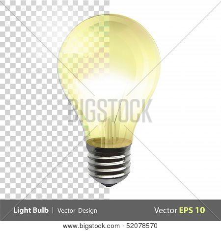 Lightbulb On. Realistic Vector Design.