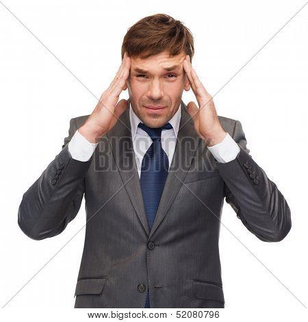 business and office, stress, problem, crisis concept - stressed buisnessman or teacher having headache