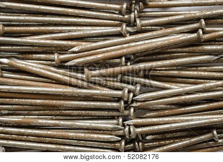 Close Up Steel  Nails Background