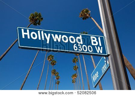 Hollywood Boulevard with  vine sign illustration on palm trees background