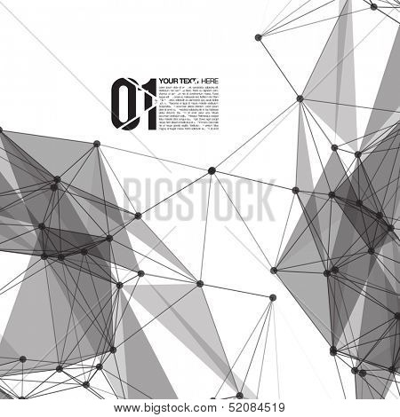 3D Black and White Abstract Mesh Background with Circles, Lines and Shapes | EPS10 Design Layout for Your Business