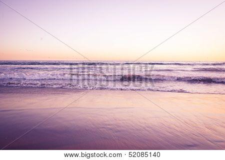 Beach at sunset. Retro look