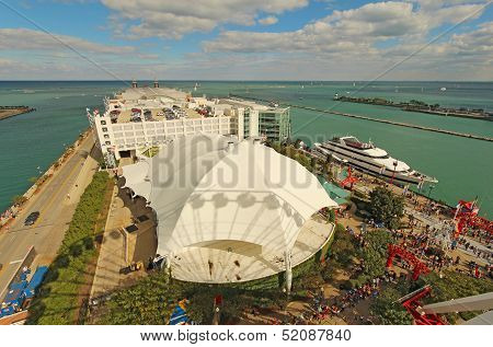 Aerial View Of Navy Pier In Chicago, Illinois