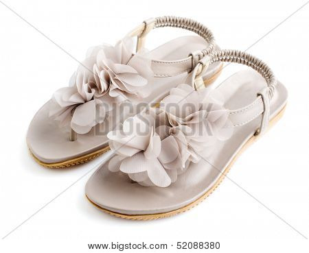 Woman opened toes summer flat shoes isolated on white background