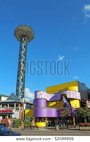 The Gatlinburg Space Needle And Skyline Of Downtown Gatlinburg, Tennessee