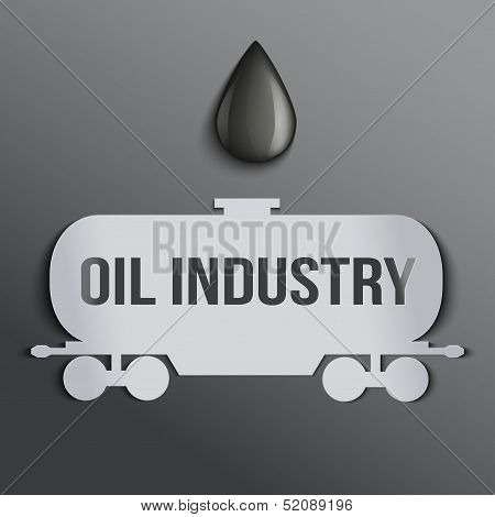 Background oil tank symbol and a drop of petroleum