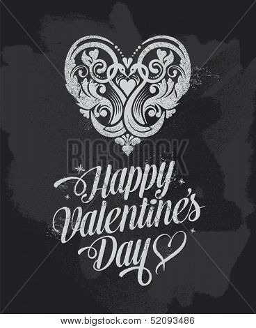 Chalkboard Valentines Day banner greetings card. Blackboard vector design with removable texture.