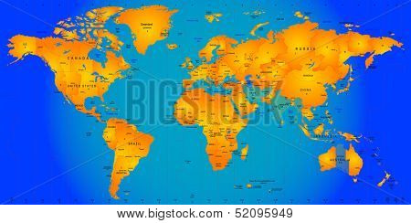 world timezone map vector illustration