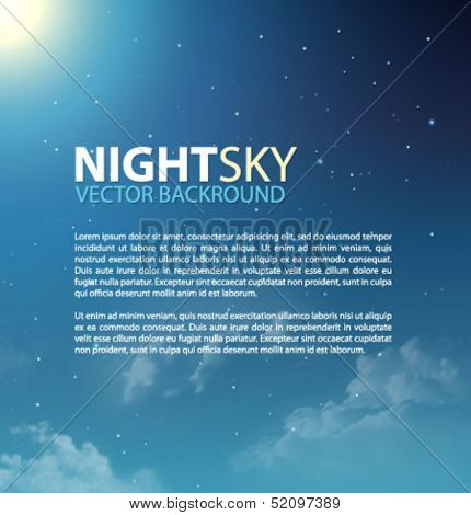 Nigh sky with stars and clouds for your presentation. Vector illustration.