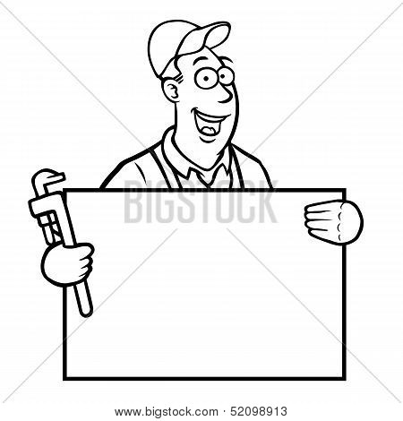 Black and white plumber with sign