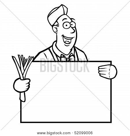 Black and white greengrocer holding a sign