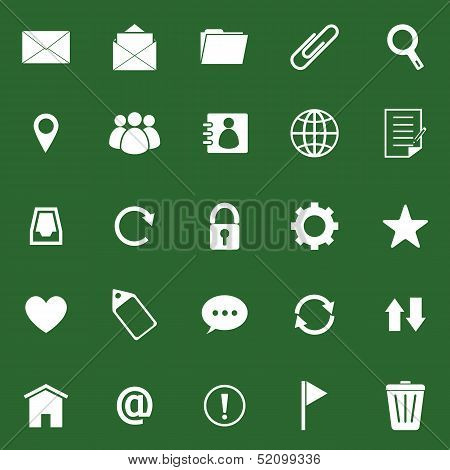 Mail Icons On Green Background