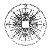 image of wind-rose  - Close up of vintage wind rose isolated on white background - JPG