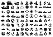 image of helicopters  - vector balack boat and ship icons set - JPG