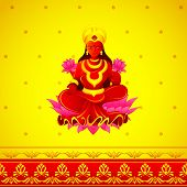 stock photo of lakshmi  - vector illustration of Godess Lakshmi in Diwali - JPG