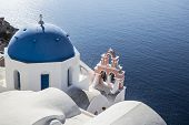 stock photo of church  - Blue and white church of Oia village  - JPG