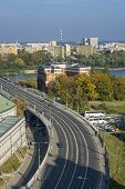 Cityscape Of Warsaw, Poland, Slasko-dabrowski Bridge.