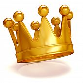 pic of queen crown  - 3d golden crown on white background - JPG
