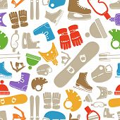 stock photo of ski boots  - winter sports equipment silhouettes seamless pattern - JPG