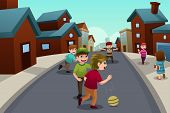 picture of suburban city  - A vector illustration of happy kids playing in the street of a suburban neighborhood - JPG