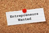 image of reminder  - The phrase Entrepreneurs Wanted typed onto a scrap of lined paper and pinned to a cork notice board - JPG