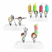 Kids Holding Colorful Cans And Cups On White Shelves. Vector Design