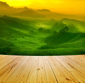 stock photo of cameron highland  - Wooden floor and sunrise view of tea plantation landscape at Cameron Highland - JPG