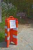 Barricades Close The Appalachian Trail In Great Smoky Mountains Park Vertical