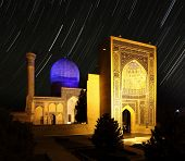 Gur e Amir - mausoleum of Tamerlane (Amir Timur) and his family at night. Samarkand, Uzbekistan