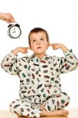 stock photo of disobedient  - Disobedient little boy at bedtime  - JPG