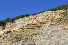 foto of ore lead  - Lead and zinc mine outdoor area with blue sky  - JPG