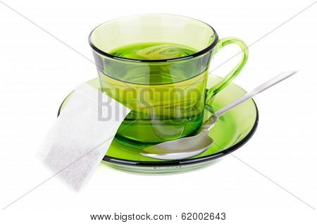 green tea in transparent cup isolated on white
